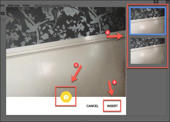 Klicken Sie auf Einfügen, um Kamerabilder in Google Slides einzufügen