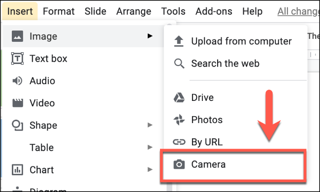 """Klicken Sie auf Einfügen > Bild > Kamera, um ein Bild mit Ihrer Kamera in Google Präsentationen einzufügen"""" width=""""650″ height=""""390″ onload=""""pagespeed.lazyLoadImages.loadIfVisibleAndMaybeBeacon(this);"""" onerror=""""this.onerror=null;pagespeed.lazyLoadImages.loadIfVisibleAndMaybeBeacon(this);""""/></p> <p>Wenn Sie einen Browser wie Google Chrome verwenden, werden Sie möglicherweise um Erlaubnis gebeten, den Zugriff auf Ihre Kamera zuzulassen.  Klicken Sie auf die Schaltfläche """"Zulassen"""", um dies in Chrome zu autorisieren.</p> <p><img class="""
