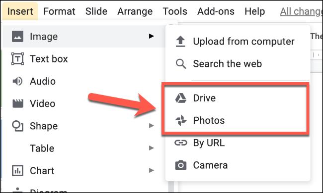 """Wählen """"Fotos"""" um ein Bild von Ihren Google Fotos hochzuladen oder """"Fahrt"""" um ein Bild aus Ihrem Google Drive-Speicher hochzuladen"""