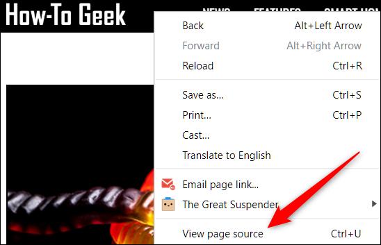 Klicken Sie mit der rechten Maustaste auf eine Seite und dann auf Seitenquelle anzeigen