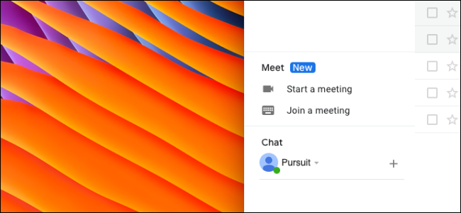 Nutzer entfernt den Google Meet-Bereich in der Gmail-Seitenleiste