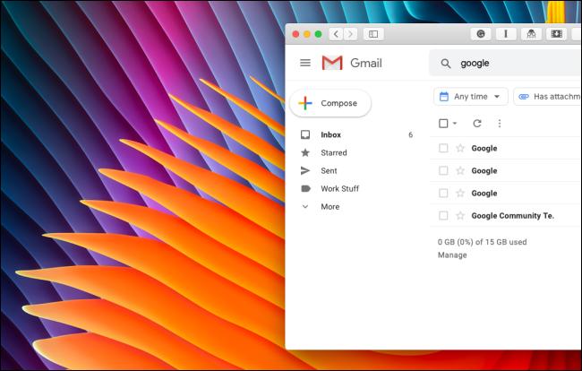 Gmail-Seitenleiste ohne Google Hangouts oder Google Meet-Bereich bereinigt