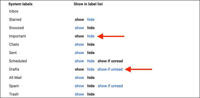 Systemlabels ausblenden, um die Gmail-Seitenleiste zu bereinigen