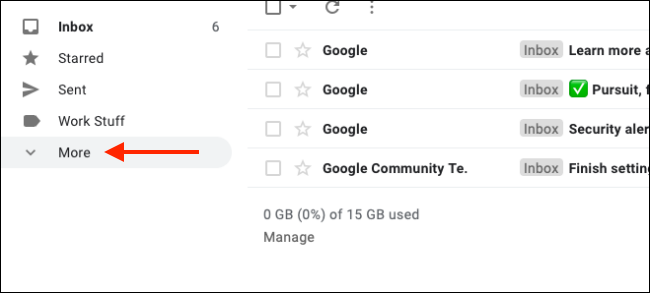 Klicken Sie auf Mehr, um alle Gmail-Labels zu erweitern