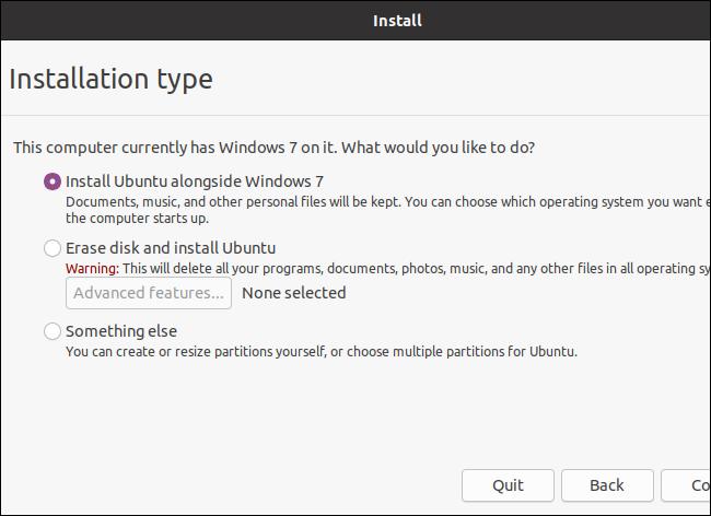 Auswählen eines Installationstyps während der Installation von Ubuntu