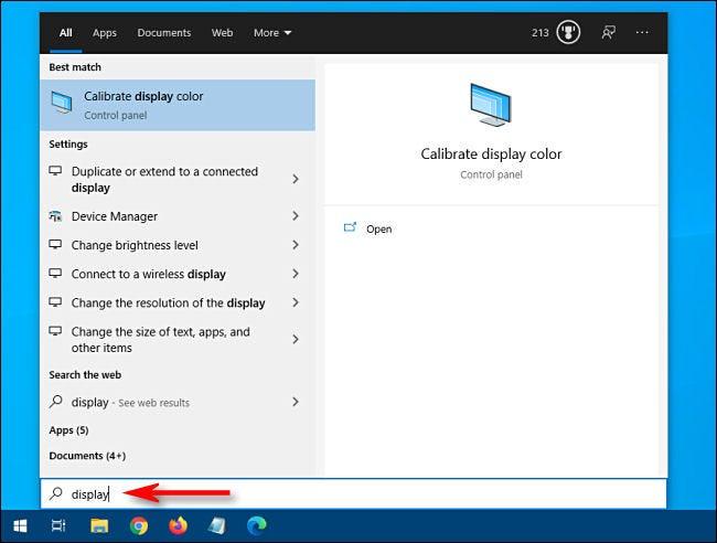 Suche nach Einstellungen über das Startmenü von Windows 10.