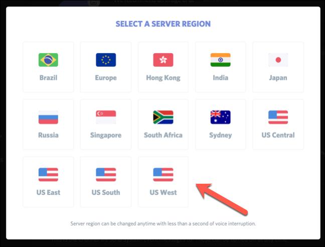 """Die """"Wählen Sie eine Serverregion aus"""" Speisekarte."""