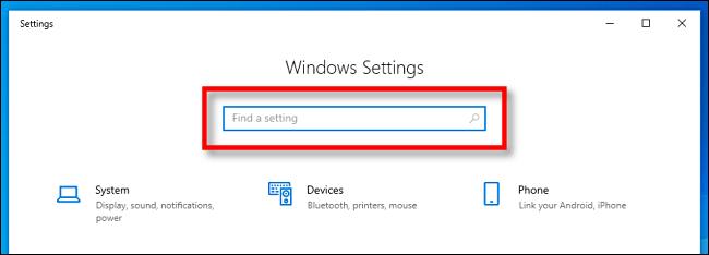 Suchen Sie die Suchleiste für die Windows-Einstellungen in Windows 10.